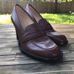 Brown Leather SZ 9M Antonio Melani Chunky Heels